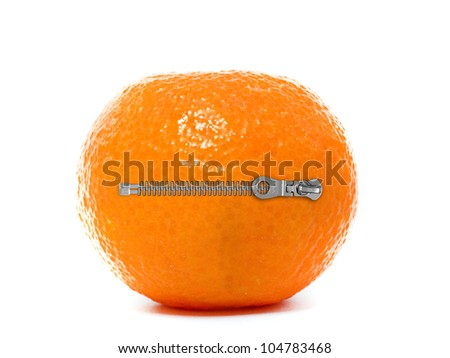 Fresh Clementine with zipper isolated on a white background - stock photo