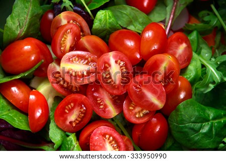 Fresh Close up Tomato cherry plumb salad. - stock photo