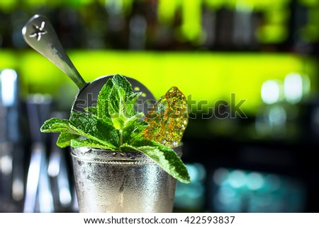 Fresh cocktail with mint and crush ice