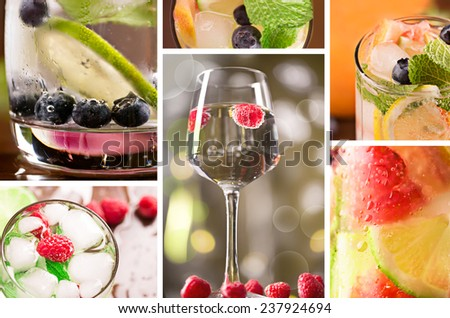 Fresh cocktails with mint and berries on the table - stock photo