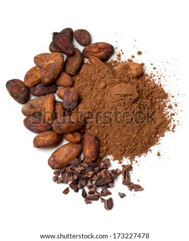 fresh cocoa isolated on white - stock photo
