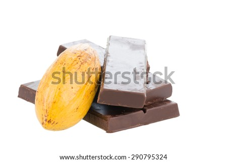 Fresh cocoa pod and chocolate bars over white background