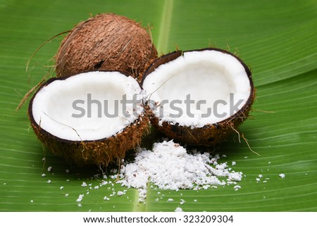 Fresh coconut cut open in half isolated on green banana leaf background Kerala India. Grated coconut top view. for cooking, frying, seasoning sambar, chutney. coconut oil, desiccated/ powder milk  - stock photo