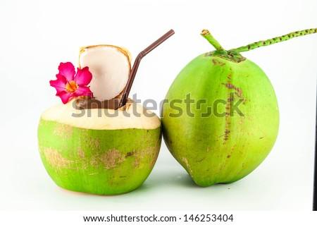 Fresh coconut drink. - stock photo