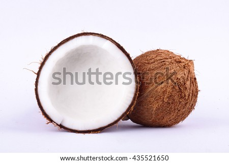 fresh coconut half clipping path for coconut milk and coconut shell  on white background fruit food isolated  - stock photo