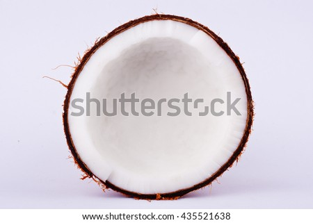 fresh coconut half clipping path for coconut milk  on white background fruit food isolated  - stock photo