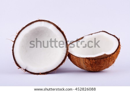 fresh coconut half clipping path for white coconut milk  on white background fruit food isolated  - stock photo
