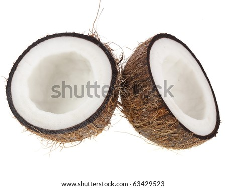 Fresh coconut half isolated on white  background