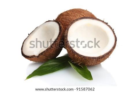 Fresh coconut isolated on white - stock photo