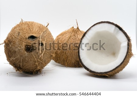Fresh coconut isolated on white background.
