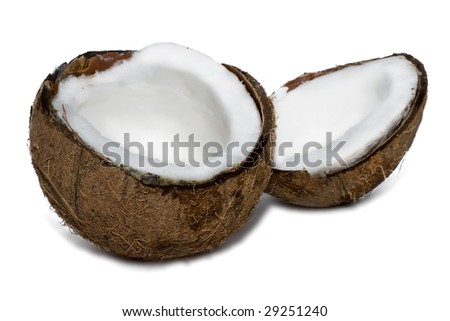 Fresh coconut on white isolated background