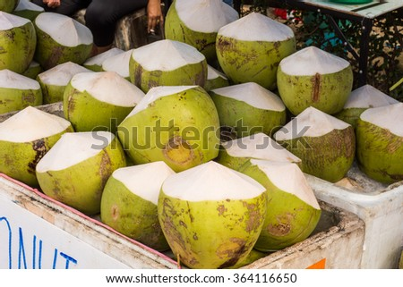 Fresh coconut water selling - stock photo