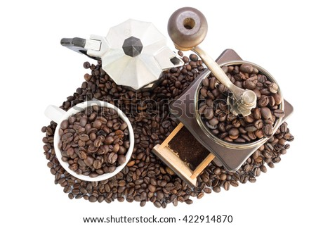 Fresh coffee beans, selective focus - stock photo