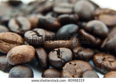 Fresh coffee beans texture background.
