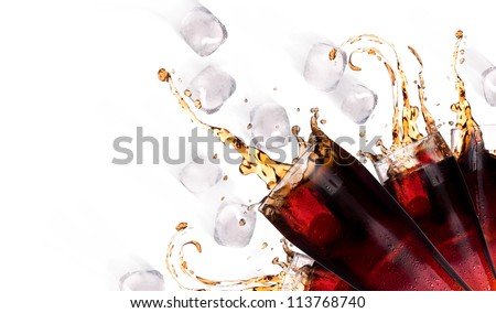 Fresh coke background with ice and splash isolated on a white - stock photo