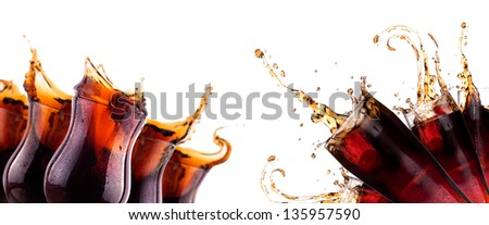 Fresh coke background with ice and splash isolated on a white - stock photo