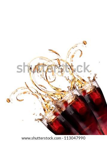 Fresh coke background with splash isolated on a white - stock photo