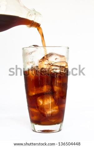 Fresh coke isolated on a white background. - stock photo
