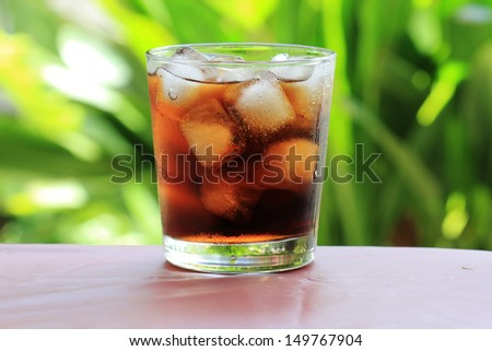 Fresh Cola in Ice cube a glass of water - stock photo