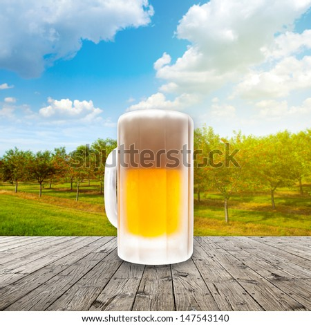 Fresh cold beer given in chilled pint - stock photo