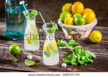 Fresh cold drink lemon with sugar - stock photo