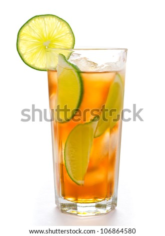 Fresh cold ice tea with lime - stock photo