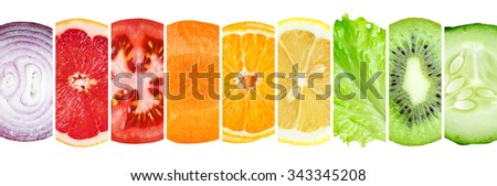 Fresh color fruit and vegetable slices. Healthy food concept