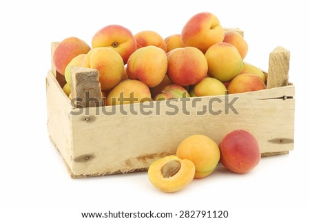 fresh colorful apricots in a wooden box on a white background - stock photo