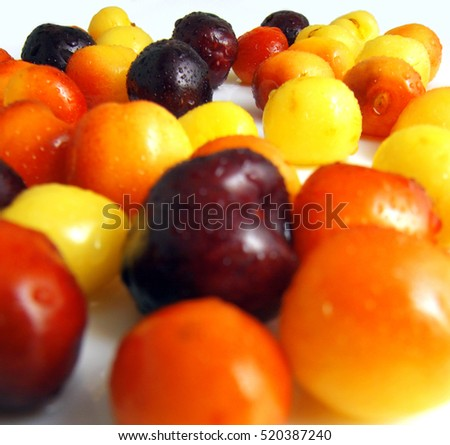fresh colorful berries with water drops