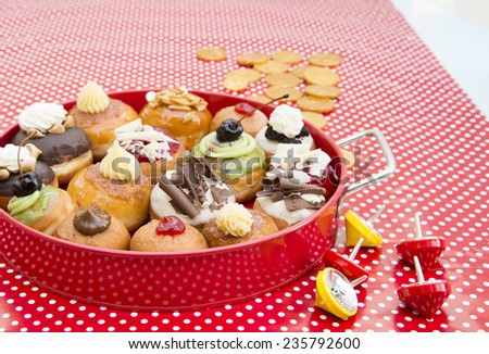 fresh colorful donuts - stock photo