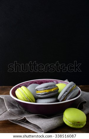 Fresh colorful macaroon in a plate. French dessert