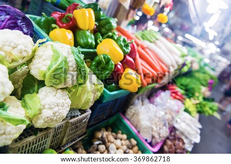 Fresh colorful organic vegetables in the Thailand market .Shallow doff