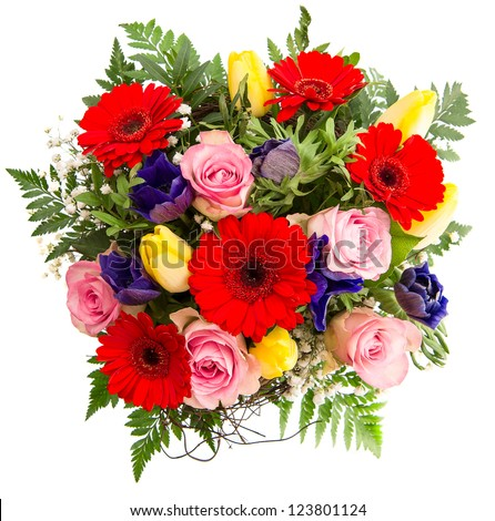 fresh colorful spring flowers bouquet. pink roses, red gerbera, yellow tulips, blue anemone - stock photo