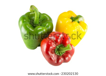 Fresh colorful sweet bell peppers  ( capsicum ) on a white background. - stock photo