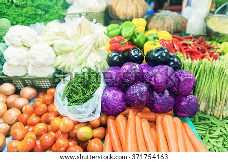 Fresh colorful vegetables in the vegetables market.Shallow doff