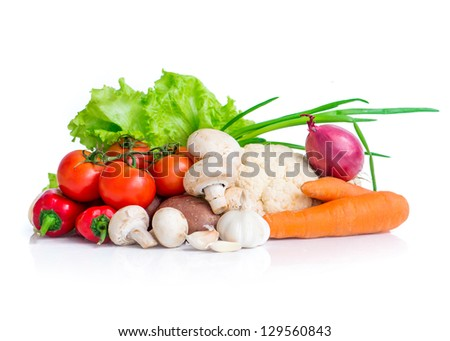 fresh colorful vegetables isolated on white background