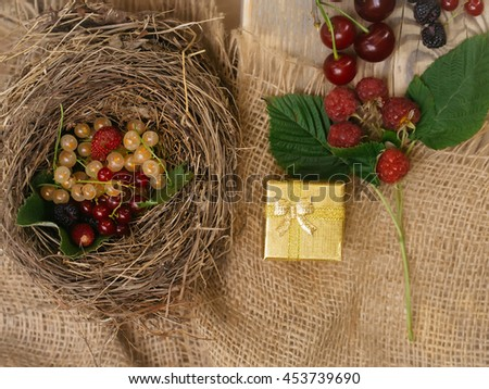 Fresh colourful berries currants strawberries raspberries in bird nest and on wooden board with golden gift box on burlap background - stock photo