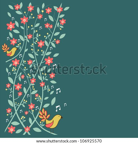 Fresh communication concept: birds singing over floral background. - stock photo