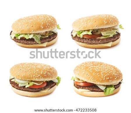 Fresh cooked hamburger isolated over the white background, set of four different foreshortenings