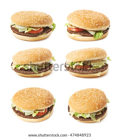 Fresh cooked hamburger isolated over the white background, set of six different foreshortenings