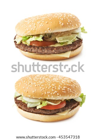 Fresh cooked hamburger isolated over the white background, set of two different foreshortenings