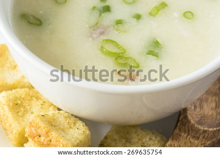 Fresh cooked potato soup with bacon and cheese.