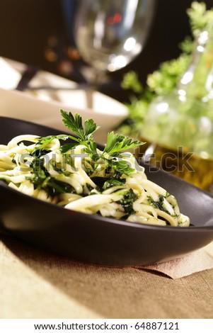 Fresh cooked spaghetti - stock photo