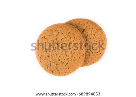 Fresh cookies isolated on a white background with shadow