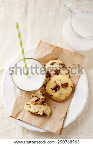 Fresh cookies on paper with glass of milk. Top view