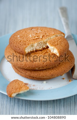 Fresh cookies with cinnamon on the plate,shallow depth of field - stock photo