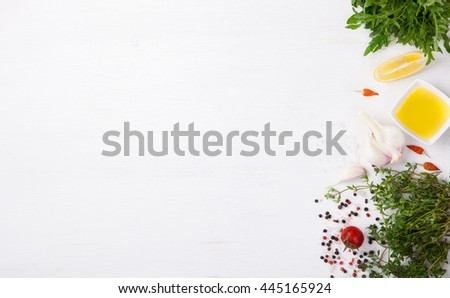 Fresh cooking ingredients and spice,on a white background. Vegetarian or diet,and healthily cooking concept.Copy space.selective focus - stock photo