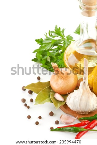 Fresh cooking ingredients with olive oil - stock photo