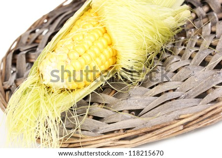 Fresh corn cob on wicker mat isolated on white - stock photo