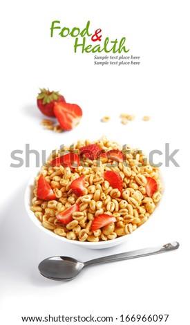 Fresh corn flakes with strawberries close up isolated on white